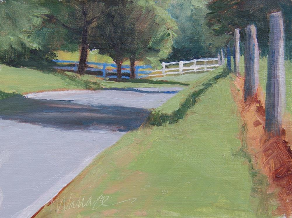 """""""#89 White fence, sun and shadow"""" original fine art by Nancy Wallace"""