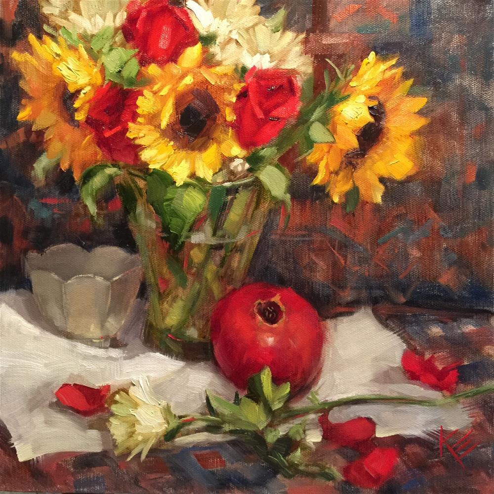 """Sunflowers & Pomegranate"" original fine art by Krista Eaton"