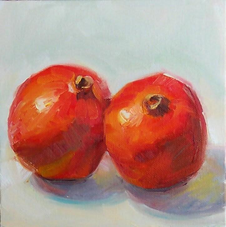 """Pomegranates,still life,oil on canvas,8x8,price$300"" original fine art by Joy Olney"