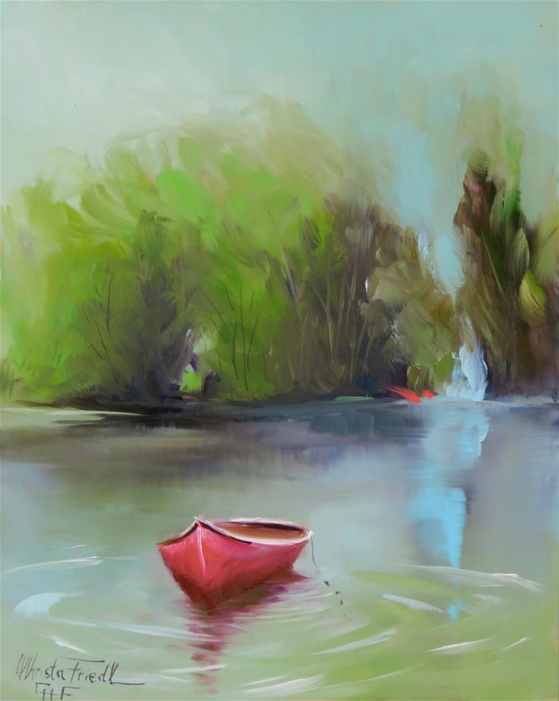 """""""the red boat"""" original fine art by Christa Friedl"""