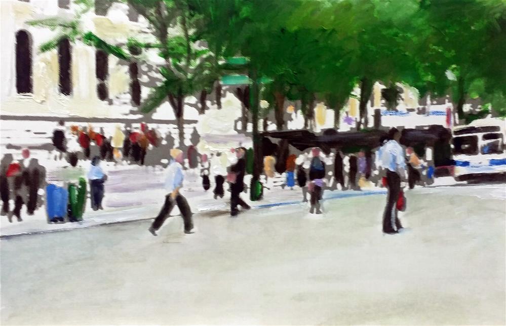 """""""Still In The City (7 x 11 Oil on canvas paper - No frame)"""" original fine art by Ramon DelRosario"""