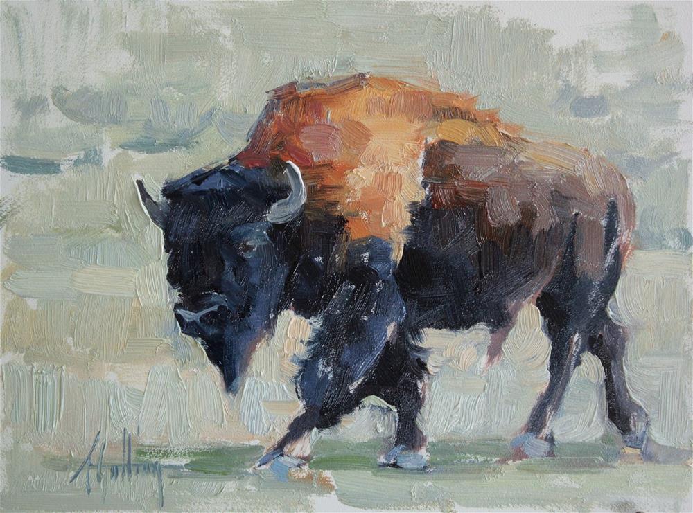 """Buffalo Study #6"" original fine art by Abigail Gutting"