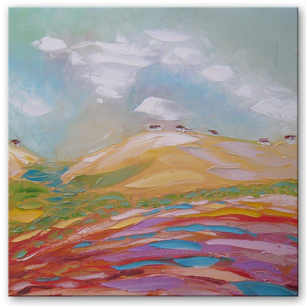 """Yellow mountain"" original fine art by Elena Lunetskaya"