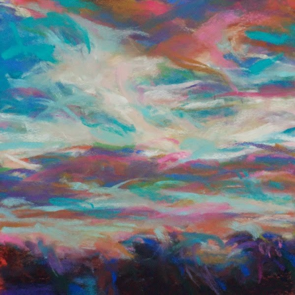 """CLOAK OF THE CLOUDS - 6 x 6 skyscape pastel by Susan Roden"" original fine art by Susan Roden"