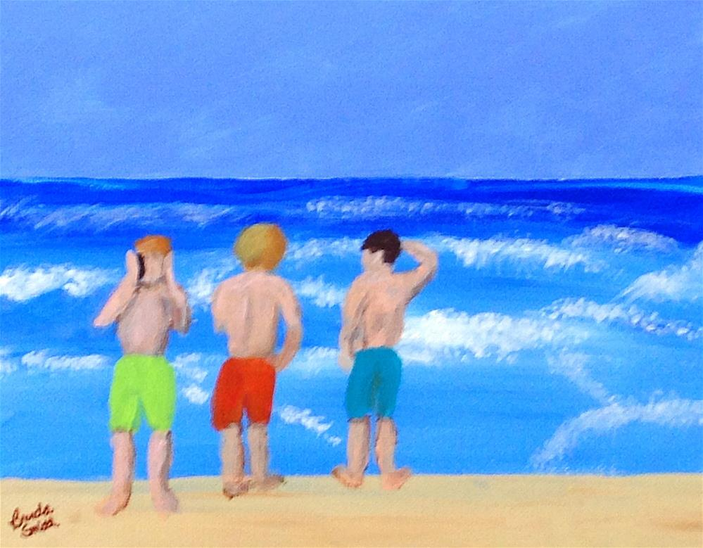 """Boys on the Beach"" original fine art by Brenda Smith"