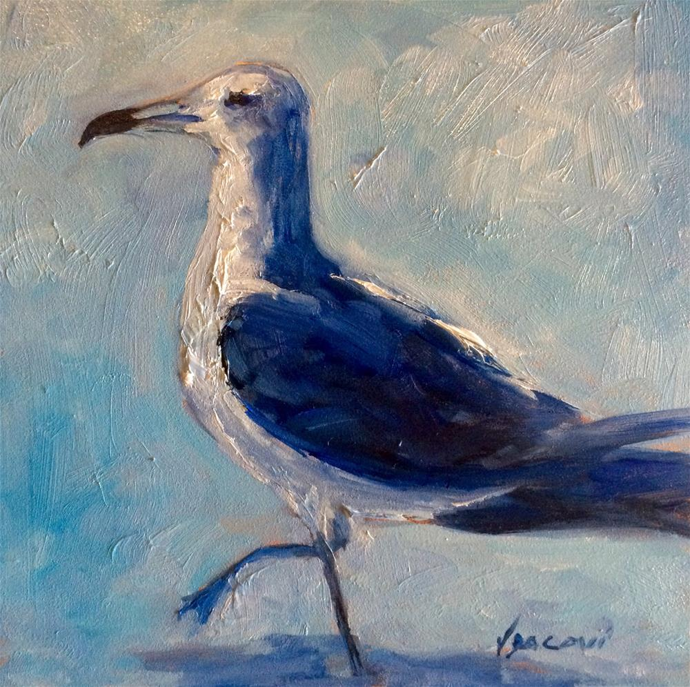 """Blue Gull"" original fine art by Valerie Vescovi"