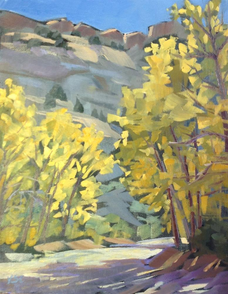 """Autumn Cottonwoods"" original fine art by Valerie Orlemann"