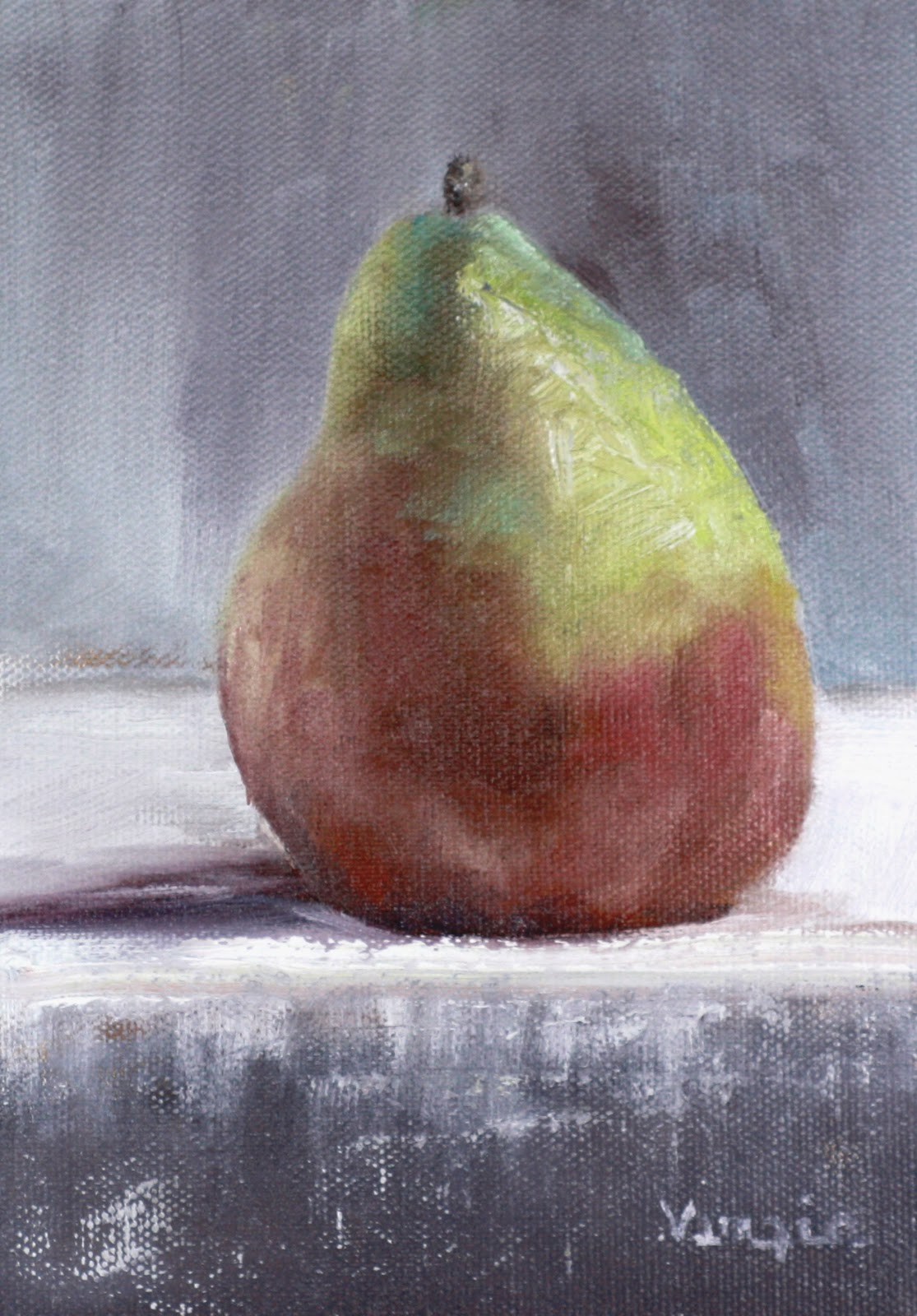 """oil painting still life pear"" original fine art by Carrie Venezia"