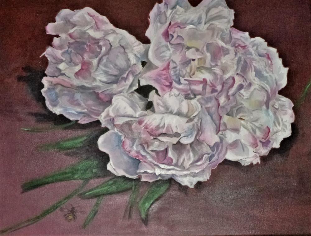 """Peony Bush Still life flowers with bee"" original fine art by tara stephanos"