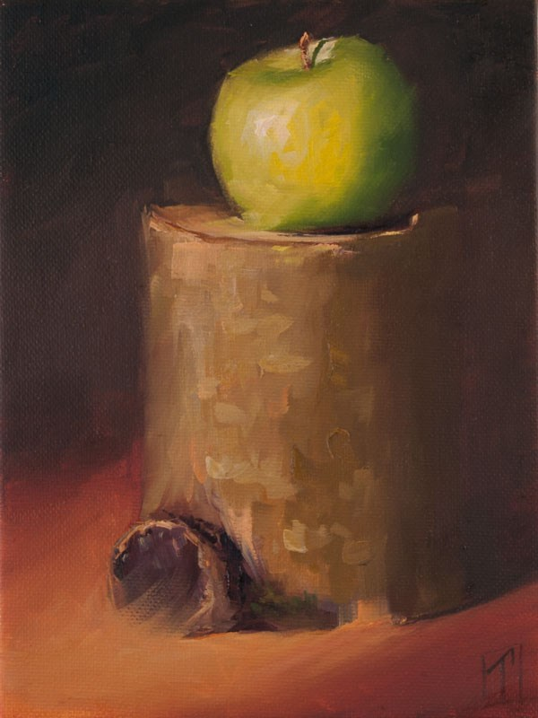 """Stump Study Green Apple"" original fine art by Lori Twiggs"