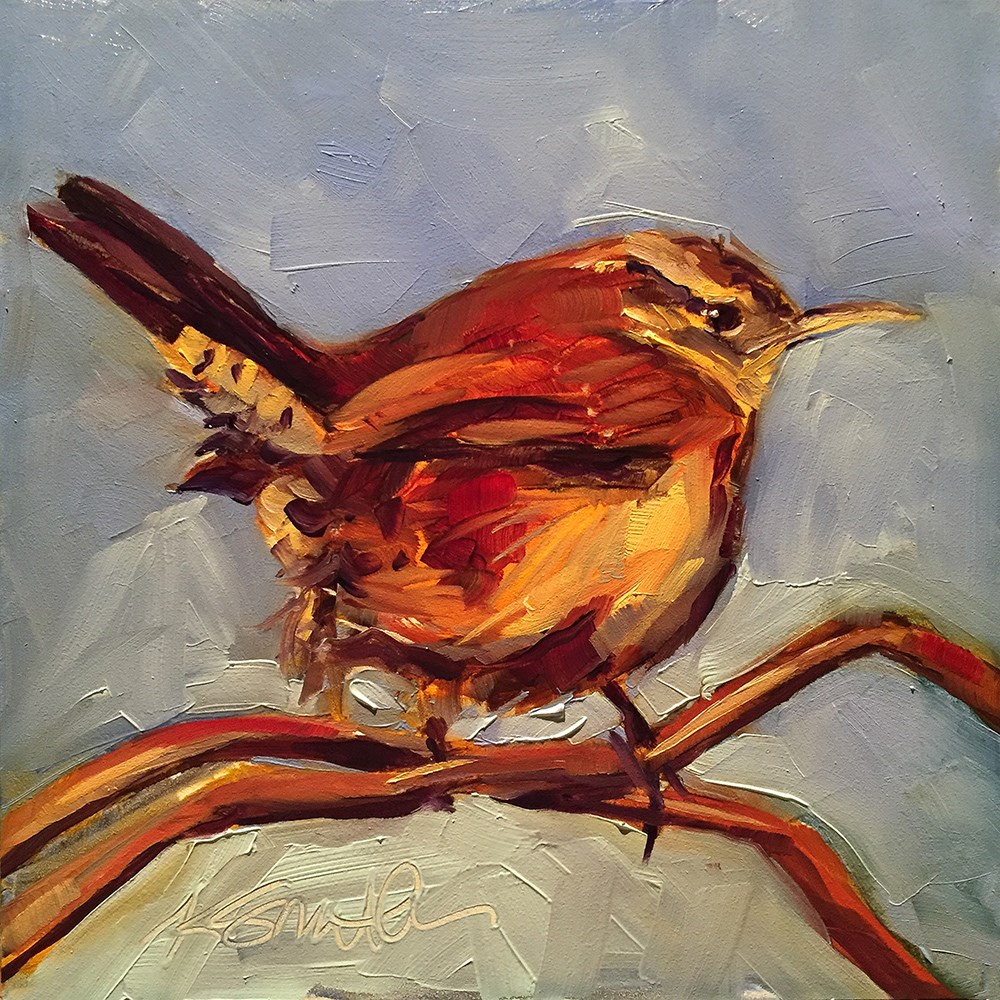 """carolina wren"" original fine art by Kim Smith"
