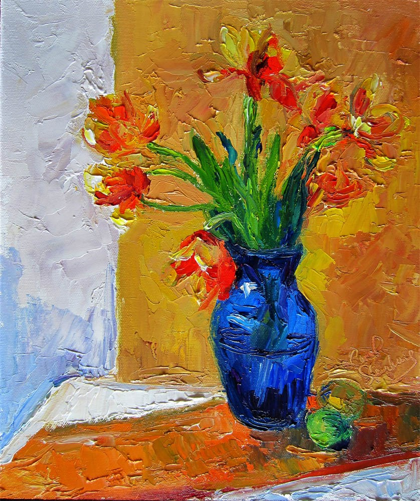 """Flame Tulips, Yellow Ground, Zoom Out"" original fine art by Carol Steinberg"
