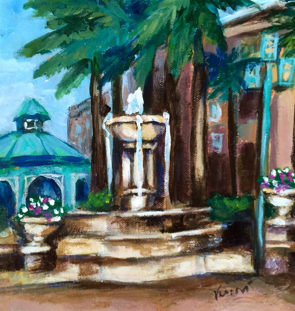 """Mizner Fountain"" original fine art by Valerie Vescovi"