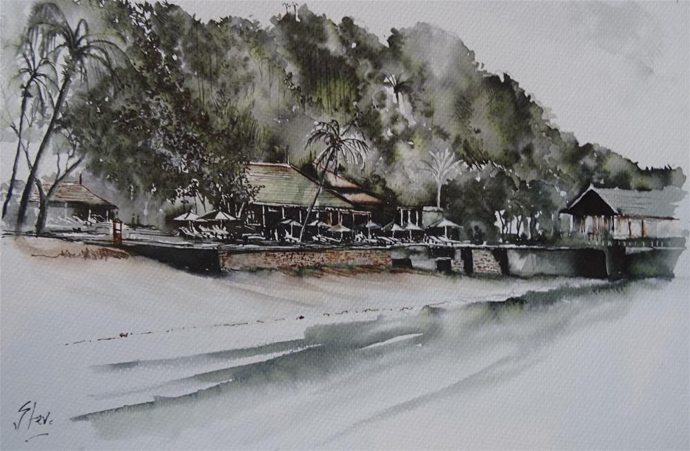 """Spa Village at Pangkor Laut"" original fine art by Martin Stephenson"