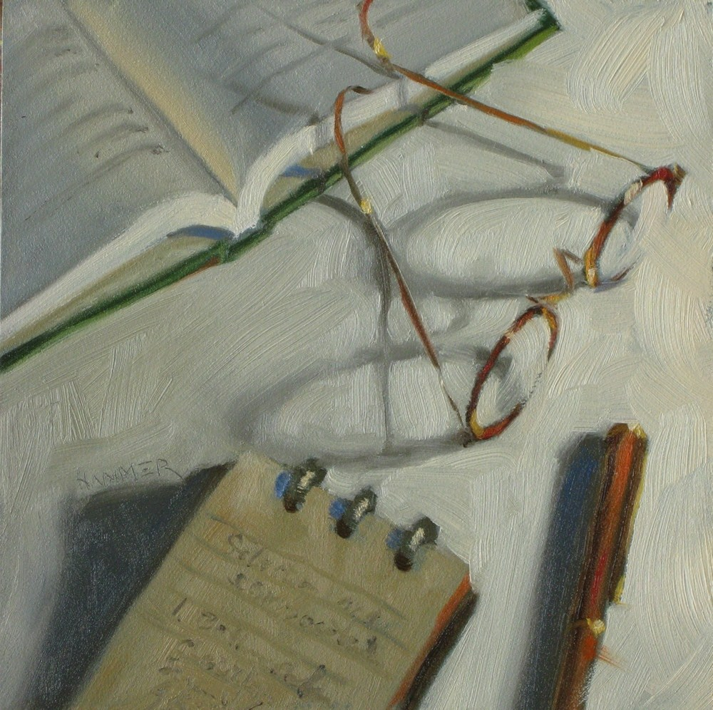 """Taking notes  6x6 oil"" original fine art by Claudia Hammer"