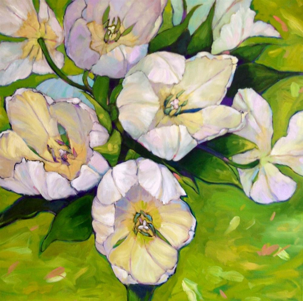 """Tulips on Lime"" original fine art by Krista Eaton"