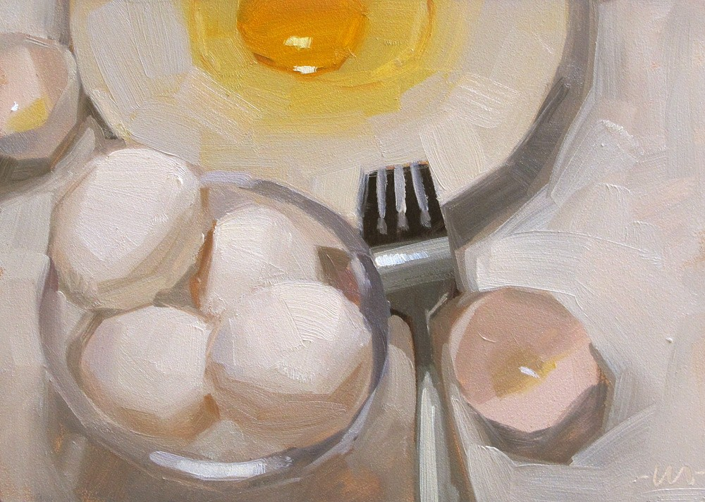 """Straight Up Egg"" original fine art by Carol Marine"