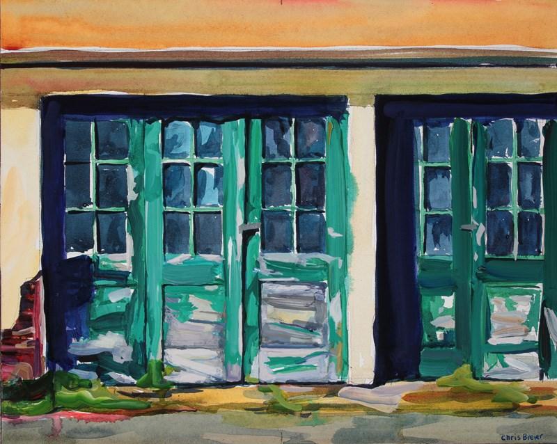"""Green Doors, Knox Farms"" original fine art by Chris  Breier"