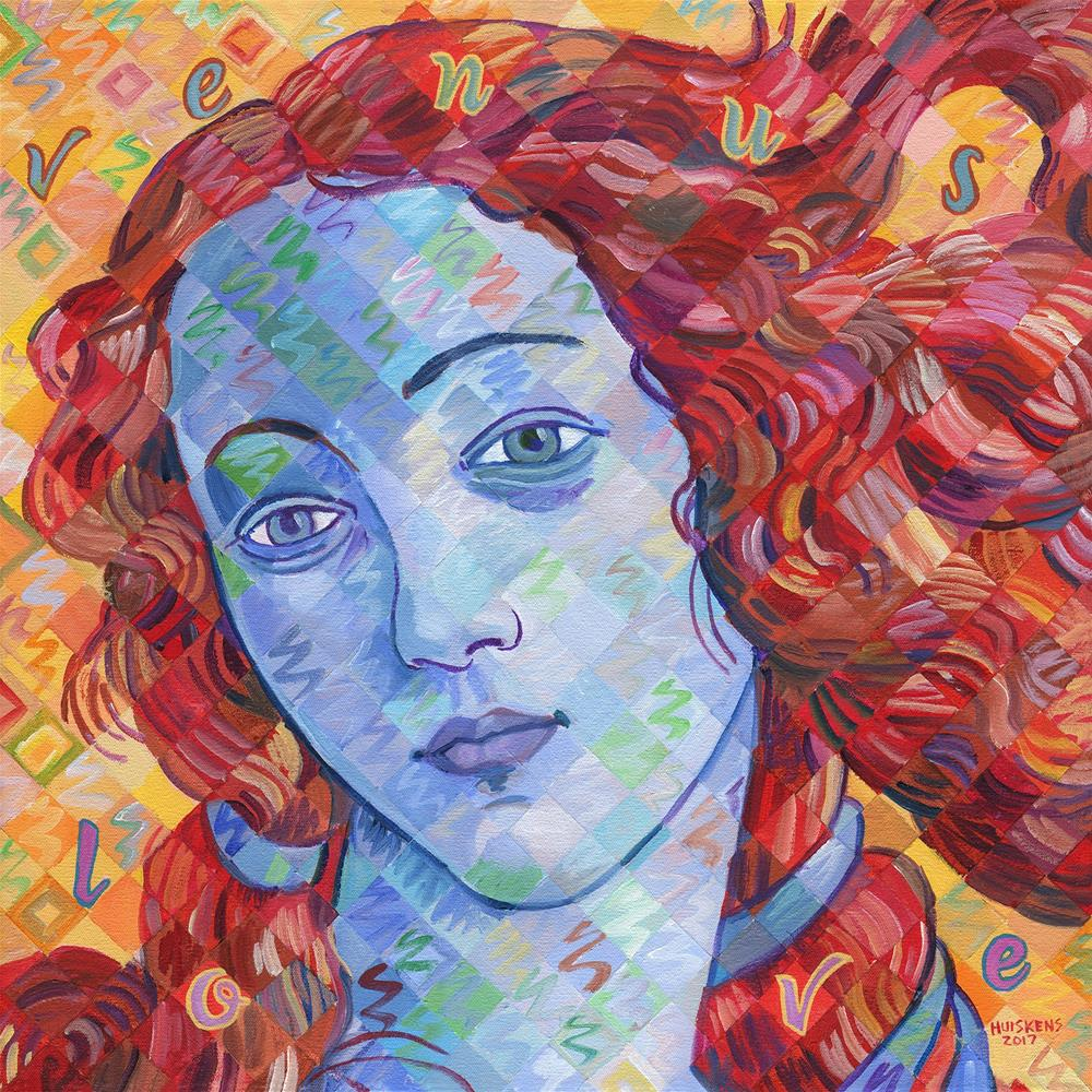 """Variations On Botticelli's Venus – No. 3 (Primary Colors)"" original fine art by Randal Huiskens"
