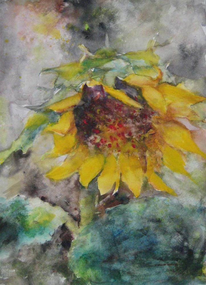 """SUNFLOWER IN JUNE --2"" original fine art by Wenqing Xu"