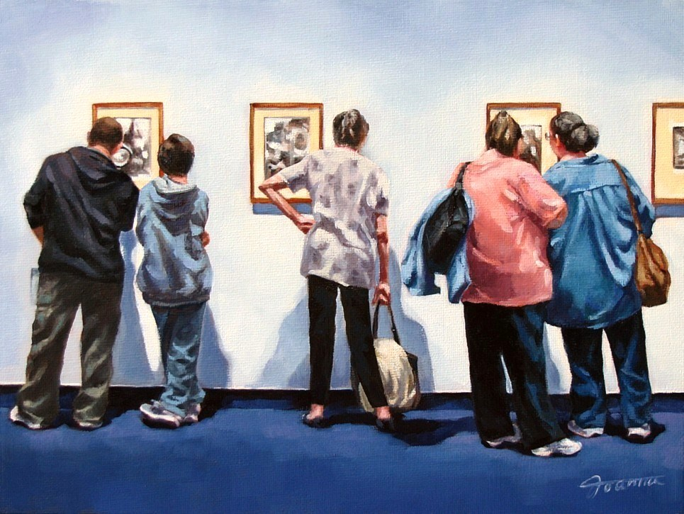"""Art 'R' Us-Painting People in Art Gallery Series"" original fine art by Joanna Bingham"
