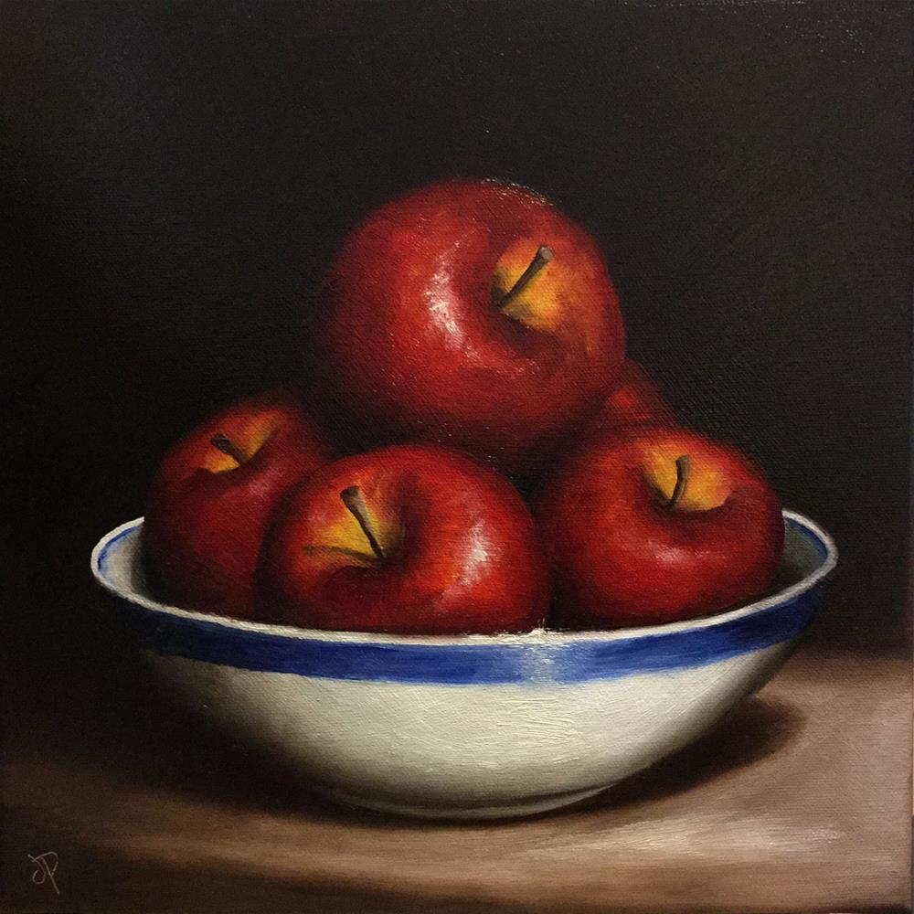 """Bowl of red apples"" original fine art by Jane Palmer"