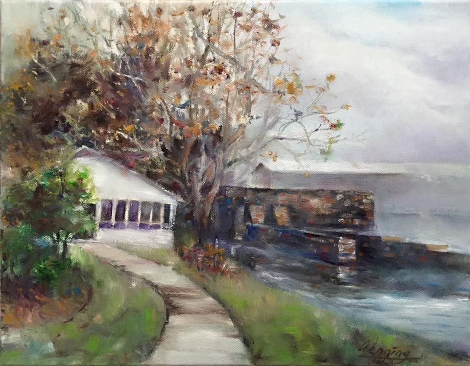 """fogging morning in the augusta canal"" original fine art by Wenqing Xu"