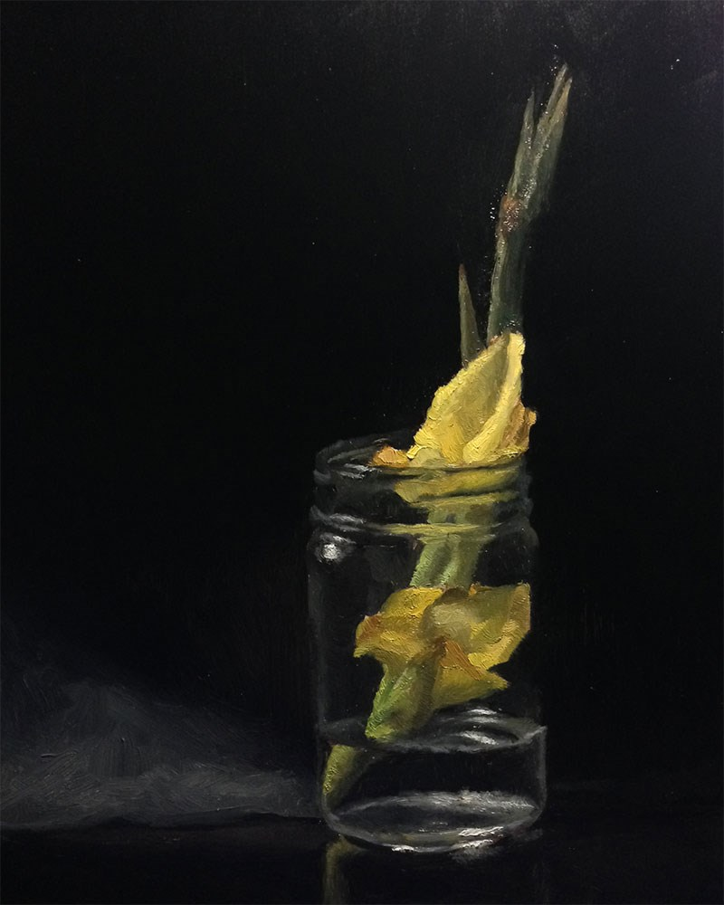 """Yellow Gladiolus"" original fine art by Chris Beaven"