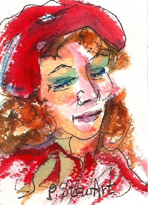 """""""ACEO Woman in Red watercolor and pen on heavy paper, original"""" original fine art by Penny Lee StewArt"""