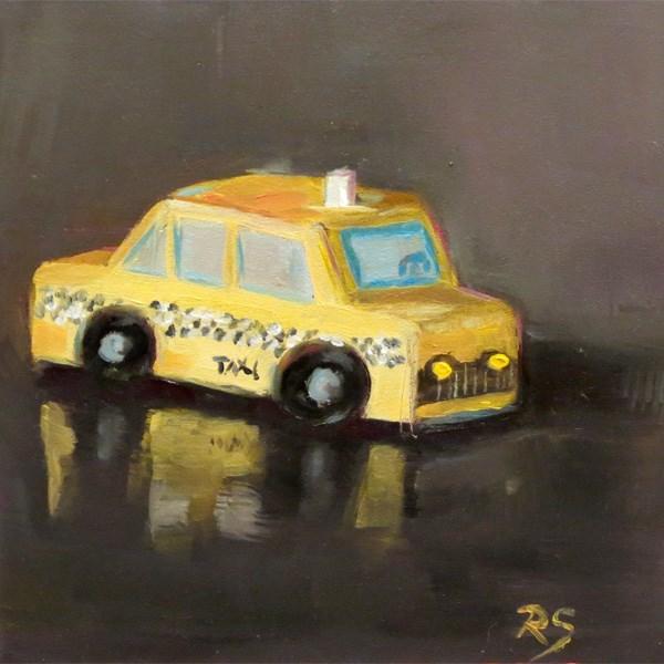 """Follow that (Toy) Car!"" original fine art by Regula Scheifele"