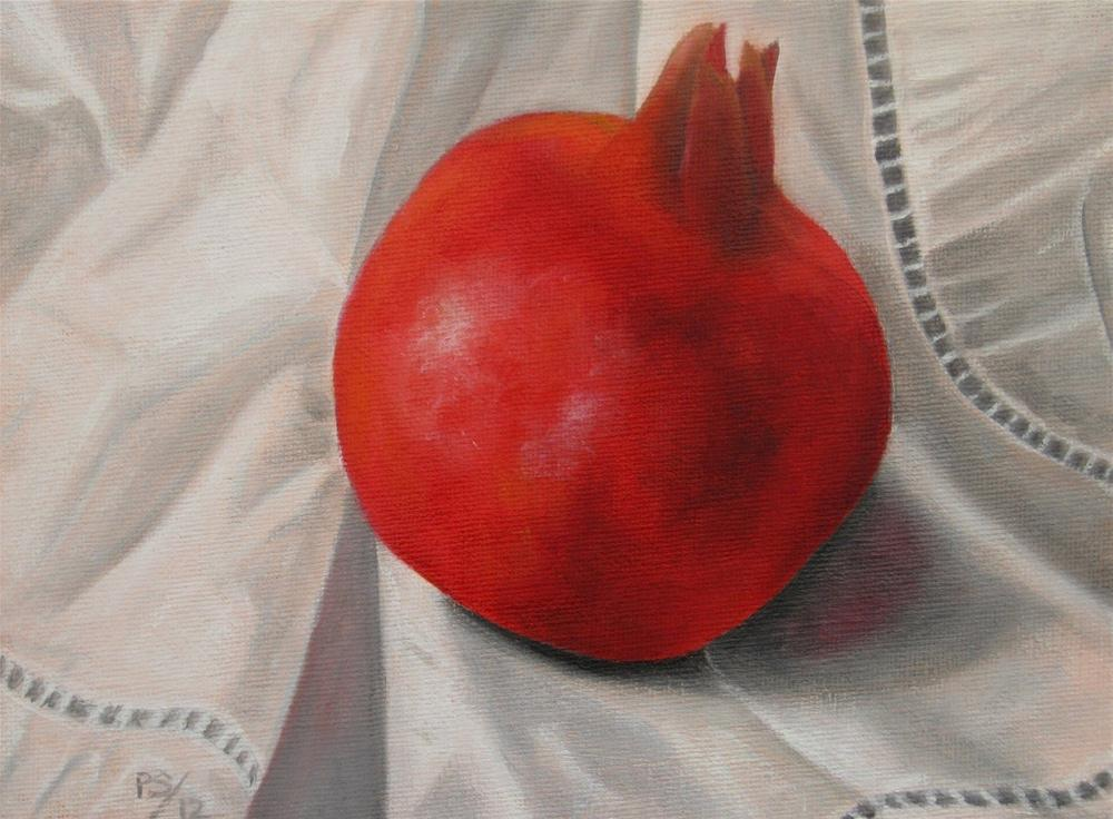 """Pomegranate on irish linen"" original fine art by Pera Schillings"