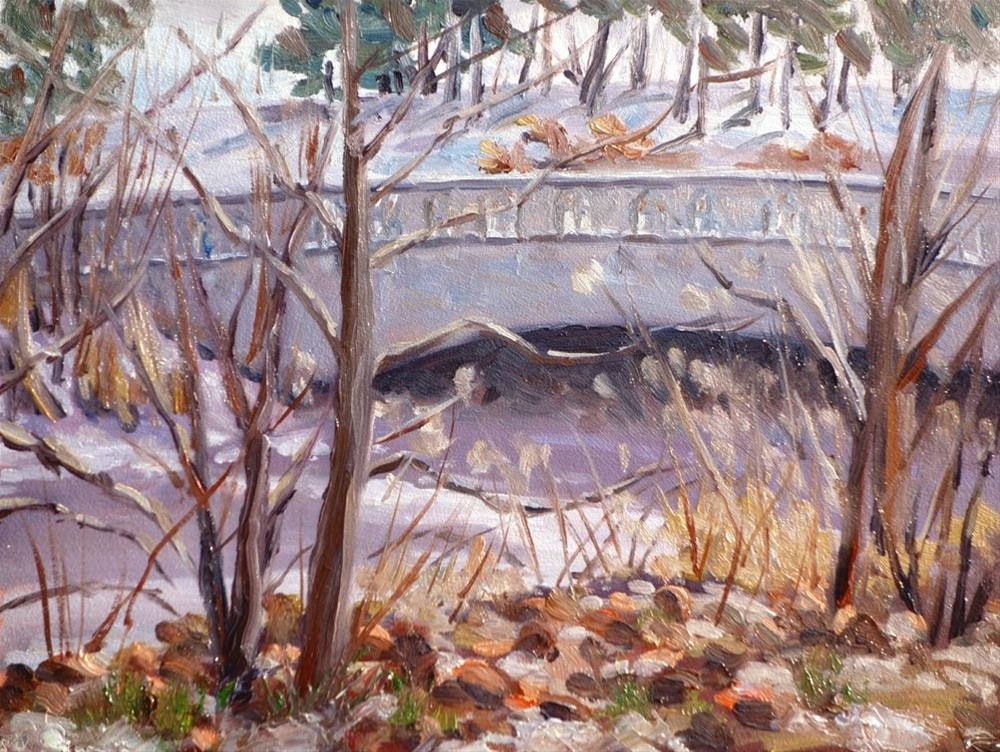 """Bridge Near Muny en plein air"" original fine art by Daniel Fishback"