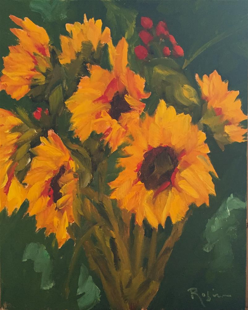 """Sunflowers with Alice"" original fine art by Renee Robison"