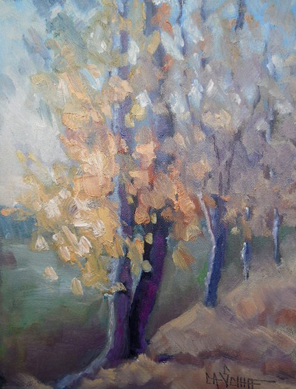 """Fall Landscape, Daily Painting, Small Oil Painting, 6x8 Oil"" original fine art by Carol Schiff"