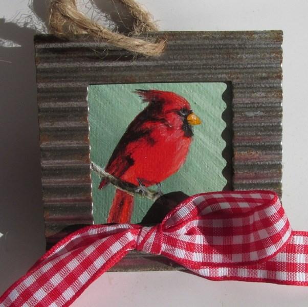 """Snowy Cardinal Ornament"" original fine art by Ruth Stewart"