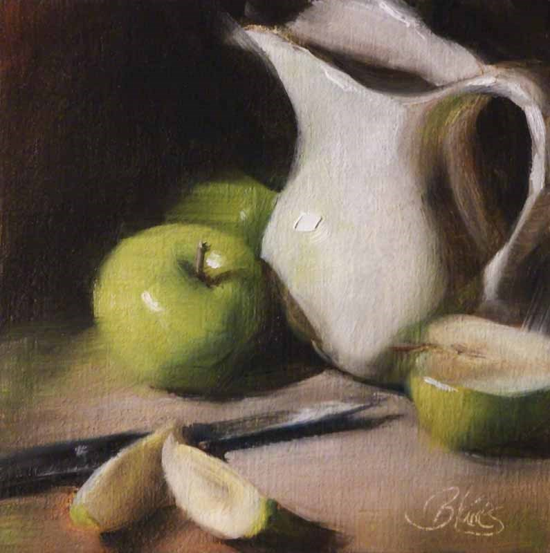 """Granny Smith Slices"" original fine art by Pamela Blaies"