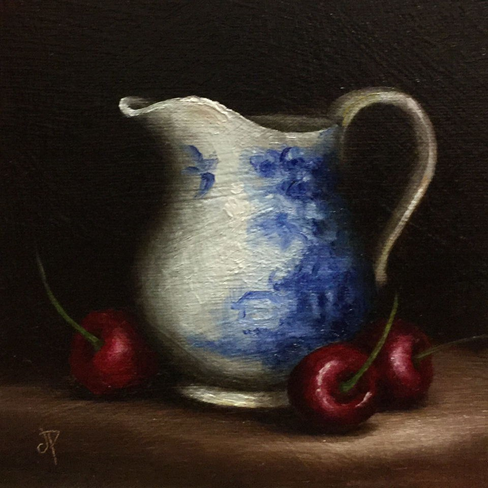"""Jug with cherries"" original fine art by Jane Palmer"