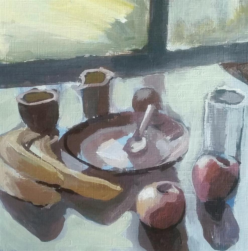 """At the Table"" original fine art by Liz Maynes"
