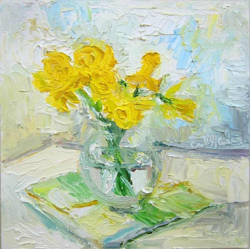 """Daffodils, Glass Bowl, Plaid Napkin"" original fine art by Carol Steinberg"