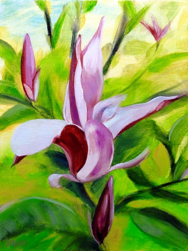 """Purple Magnolias"" original fine art by Dalan Wells"