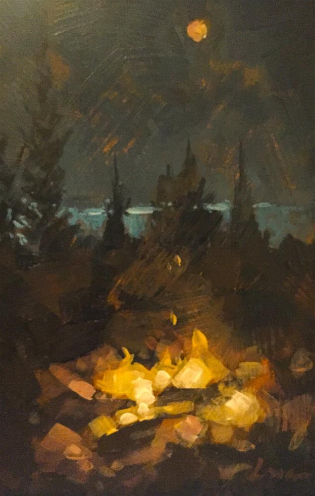 """Maine Campfire"" original fine art by Chris Long"