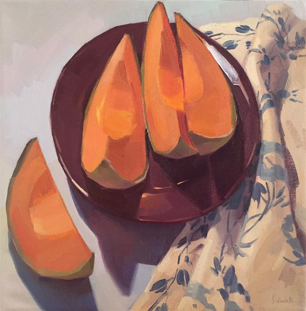 """Cozy Cantaloupe"" original fine art by Sarah Sedwick"