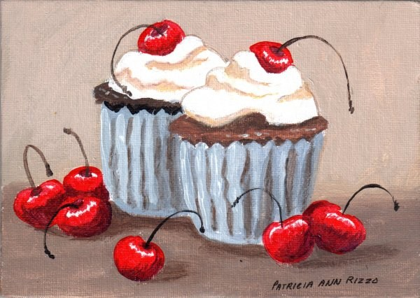 """Old Fashioned Cherry Cupcakes"" original fine art by Patricia Ann Rizzo"