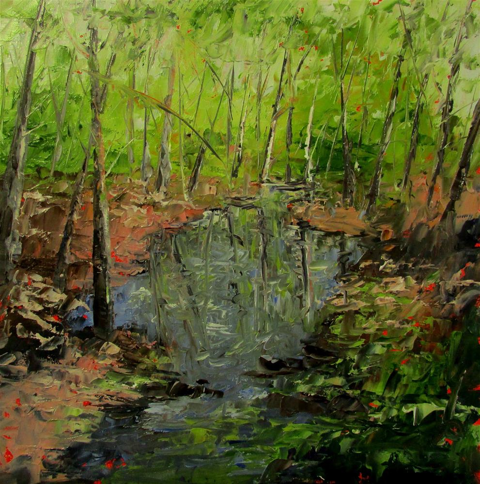 """8 x 8 inch Quiet Reflections"" original fine art by Linda Yurgensen"