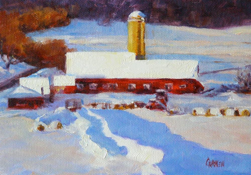 """""""Snowy Farm"""" original fine art by Carmen Beecher"""