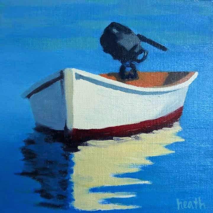"""The White Dinghy"" original fine art by Bobbi Heath"