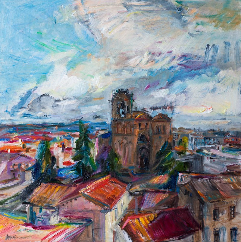 """The view of the Basilica de San Vicente from the Walls of Avila"" original fine art by Anna  Fine Art"