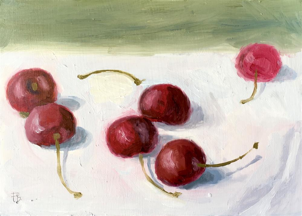 """049 Cherries, Daily Painting Ritual, free shipping"" original fine art by Fred Bell"