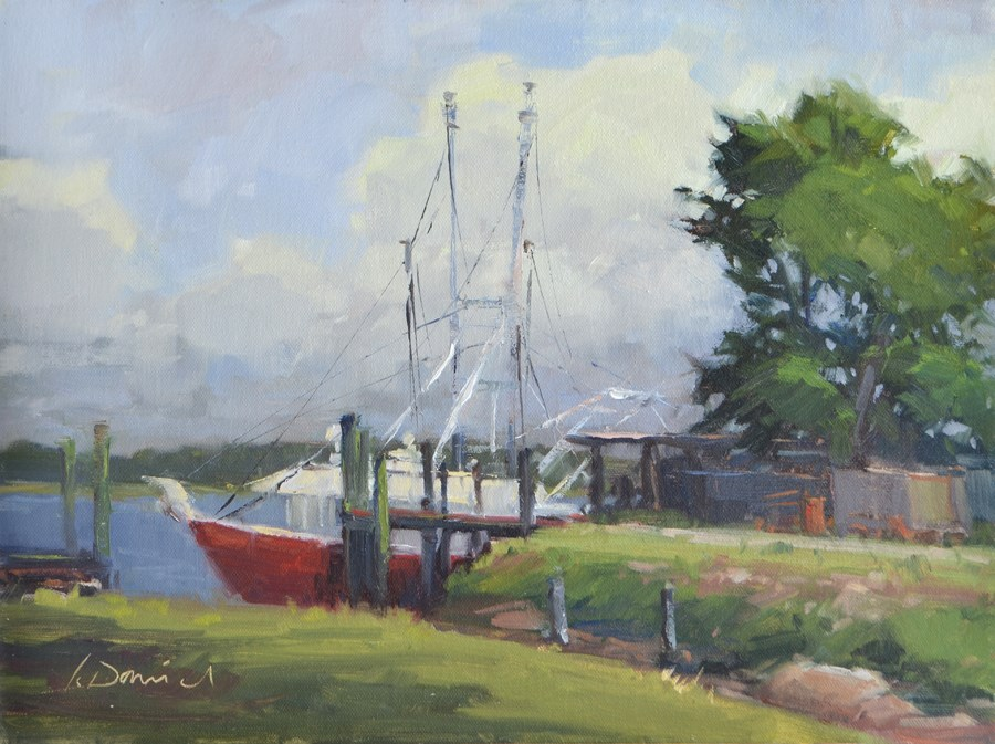 """Docked Shrimp Boat - Georgia Coast"" original fine art by Laurel Daniel"