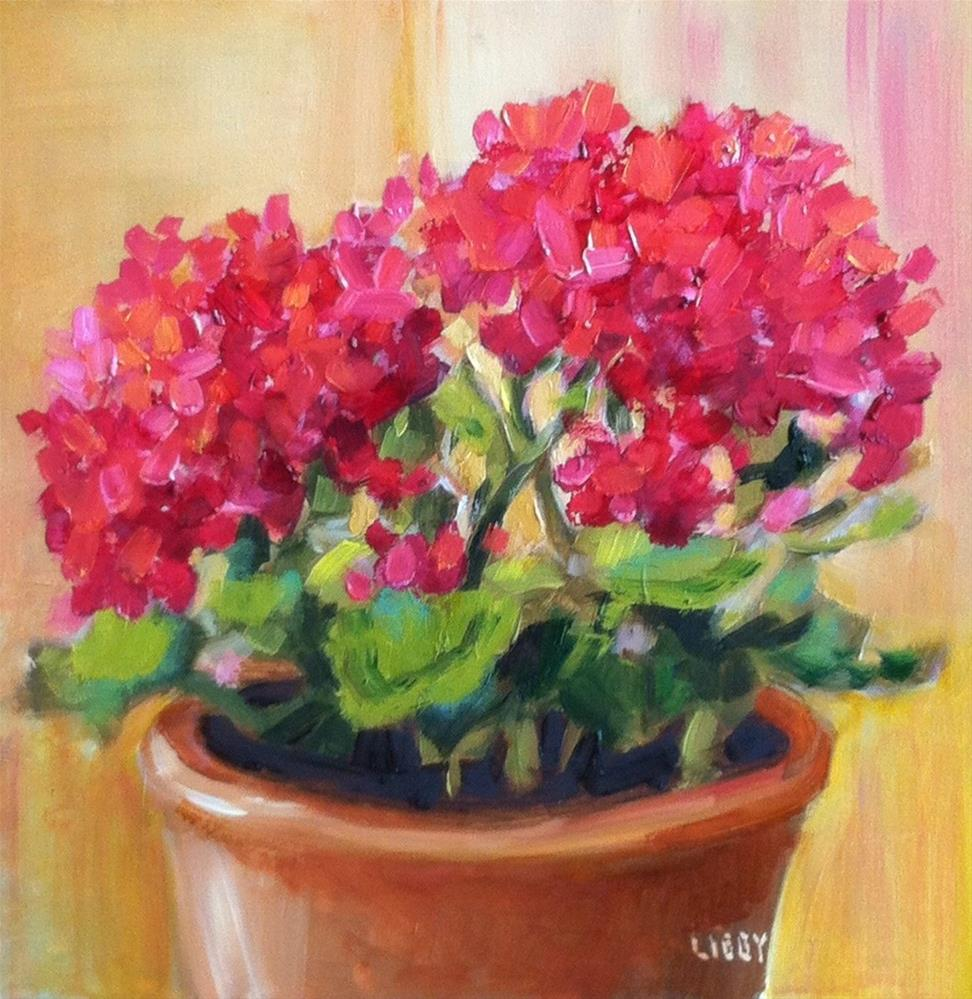 """Warm Geraniums"" original fine art by Libby Anderson"